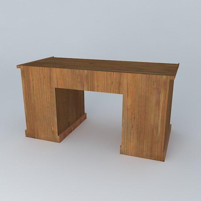 Old Wooden Desk 3d Model Max Obj 3ds Fbx Stl Skp 2