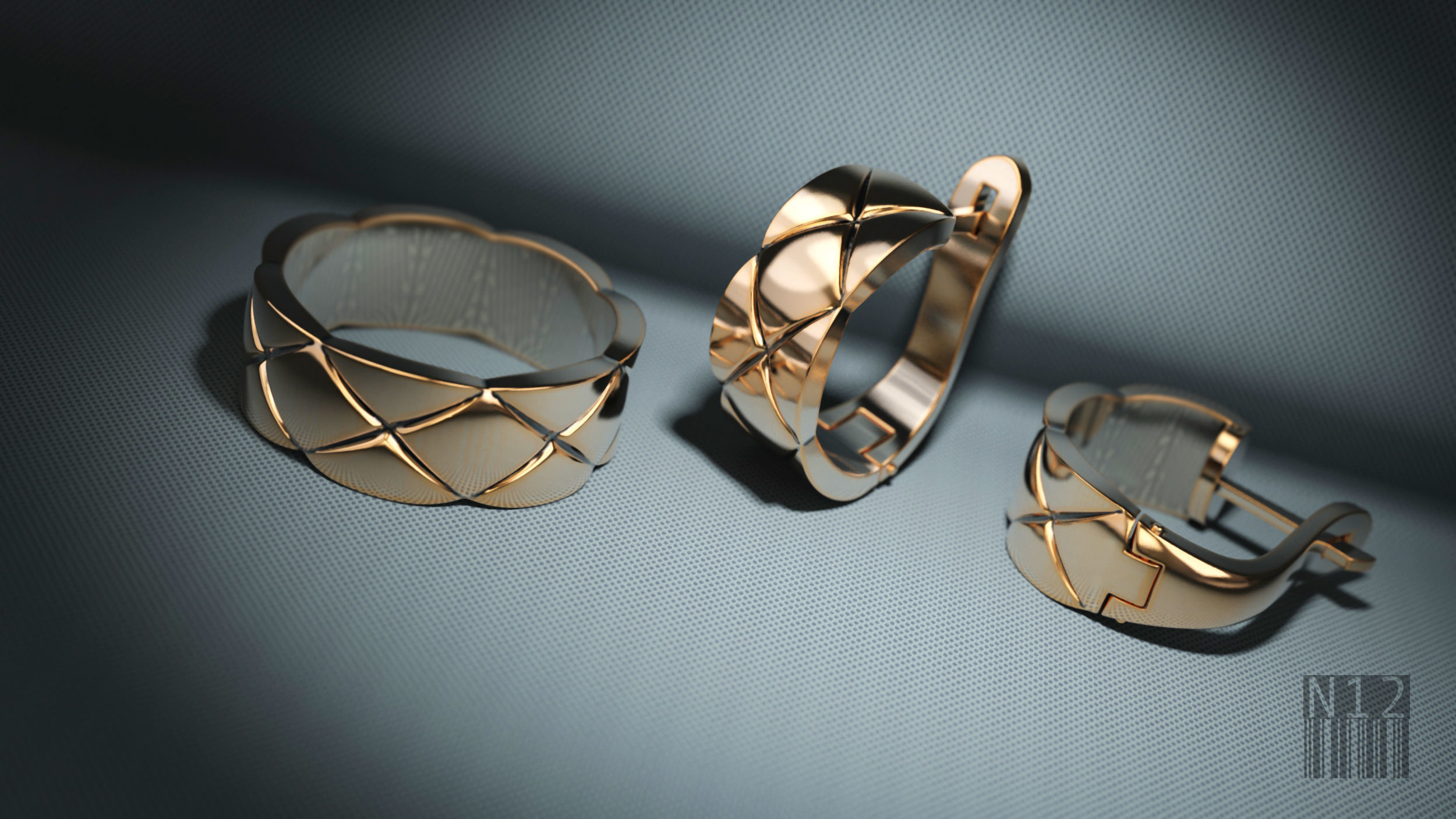 set earrings and ring with cubes