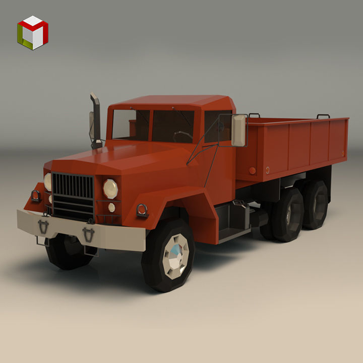 Low Poly Vintage Truck 01