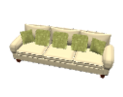 large couch with pillows 3d model