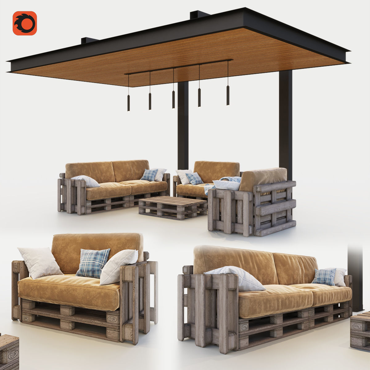 Canopy with pallets garden furniture