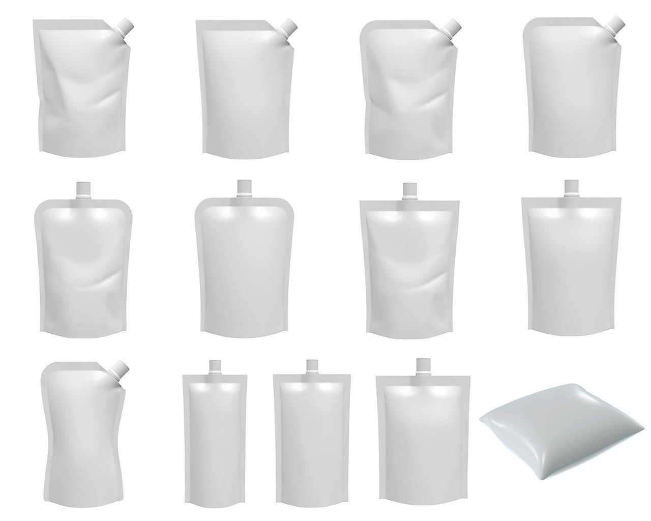 Blank Pouch Bags With Spout Lid Mock Up