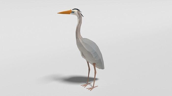 Low Poly Cartoon Great Blue Heron