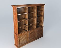 storage 3D model Wooden bookcase