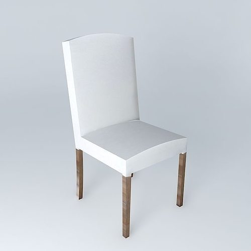 White chair 3d model max obj 3ds fbx stl skp - Chaise a housser ...