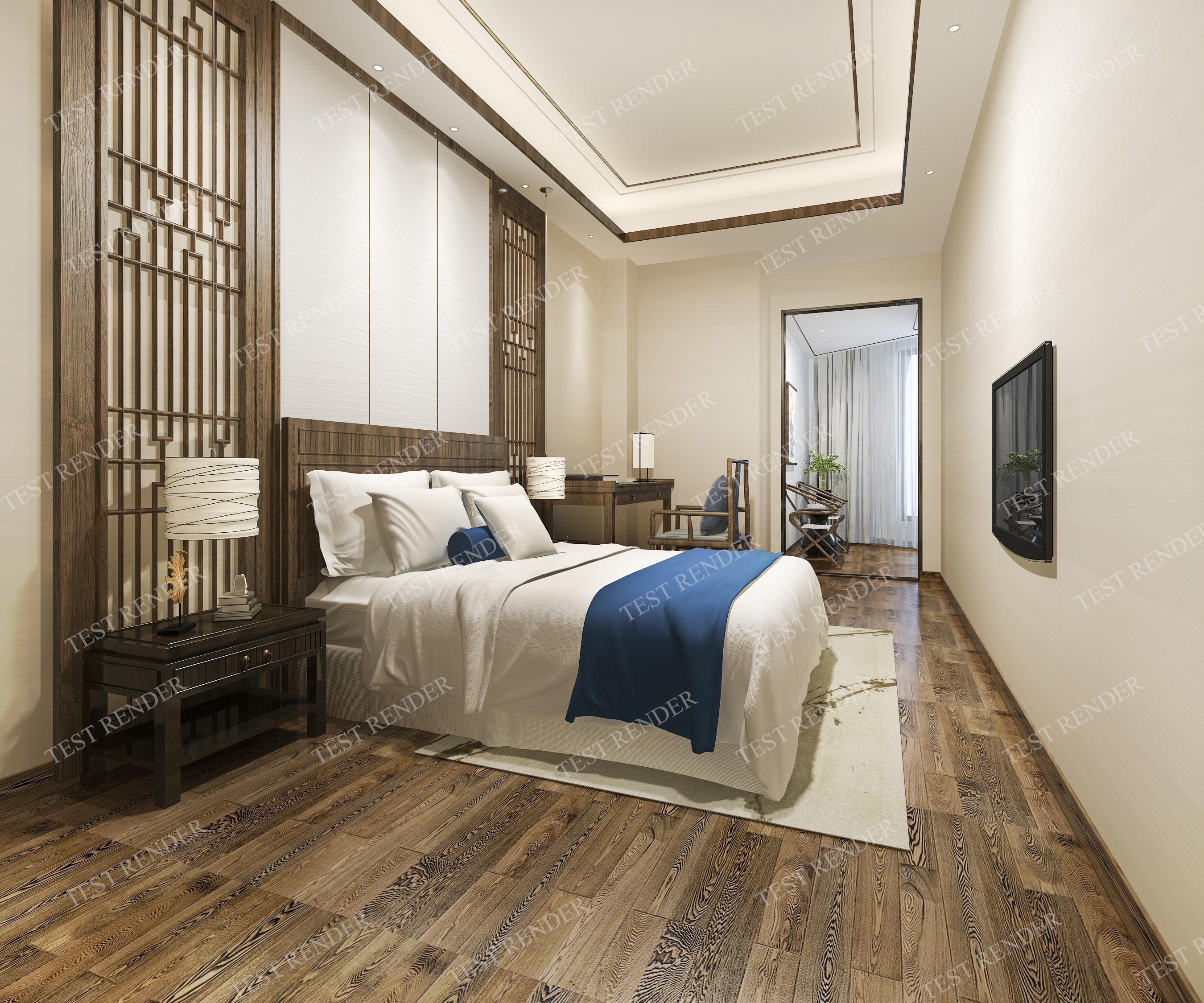 wood luxury modern bedroom suite in 3D 2