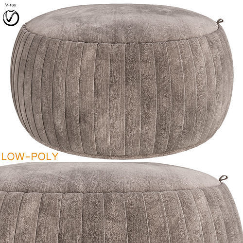 Tufted Storage Ottoman Teal 3d model