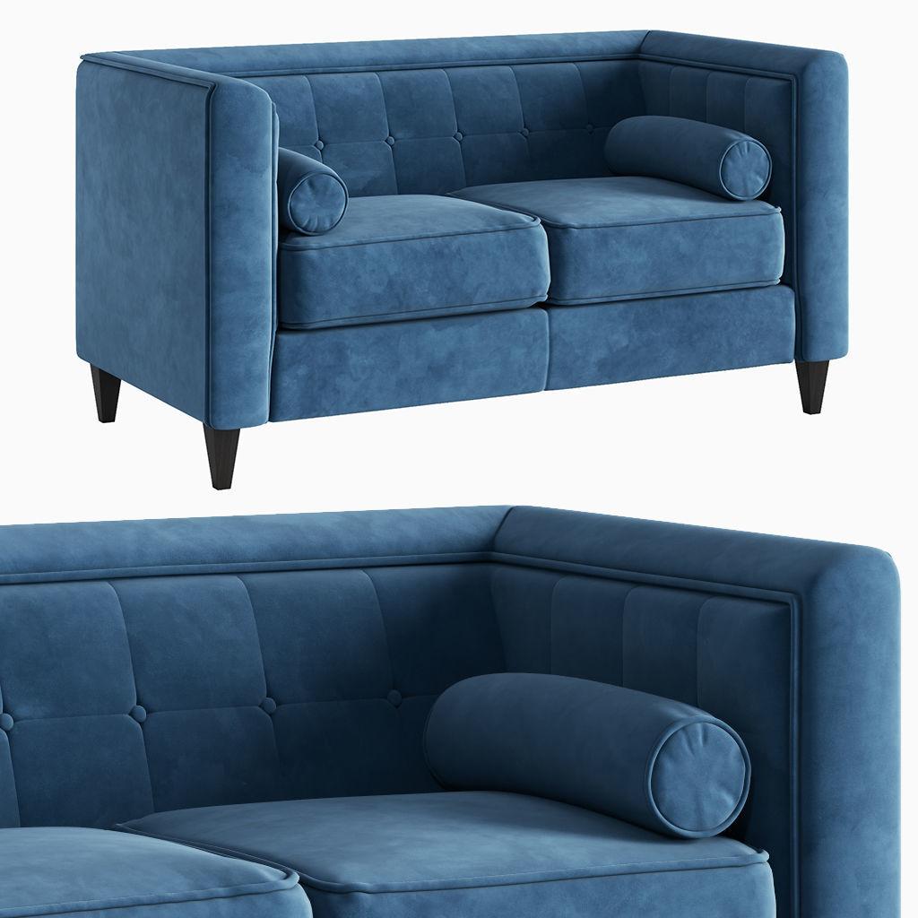 Sensational Sofa Taylor Light Blue Velvet Loveseat 3D Model Squirreltailoven Fun Painted Chair Ideas Images Squirreltailovenorg