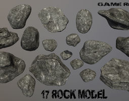Rock Set 3D model realtime
