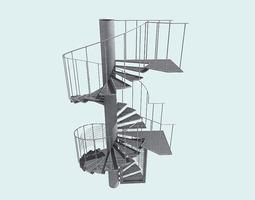 Spiral fire escape staircase 3D model