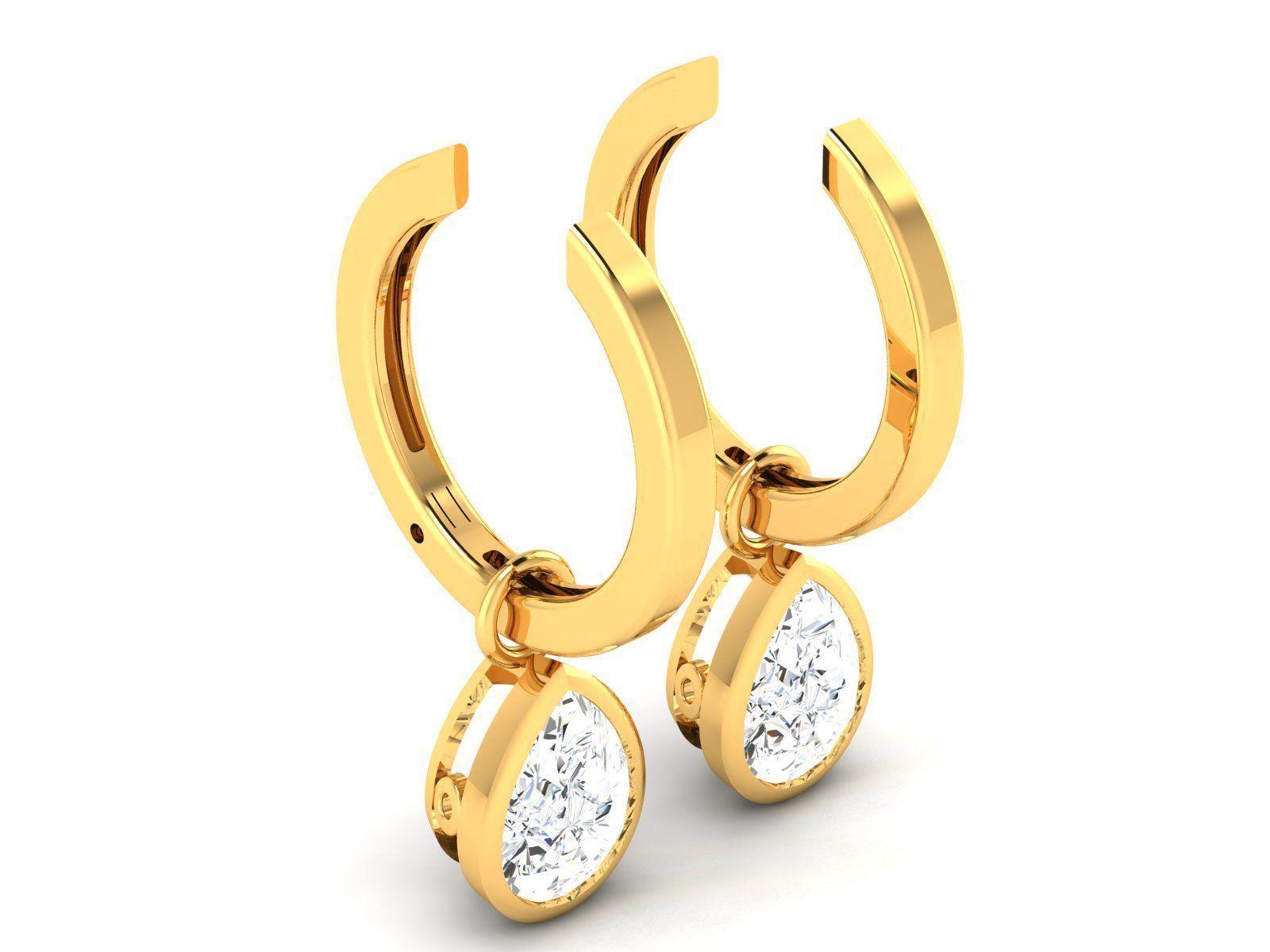 Women solitaire earrings 3dm render detail
