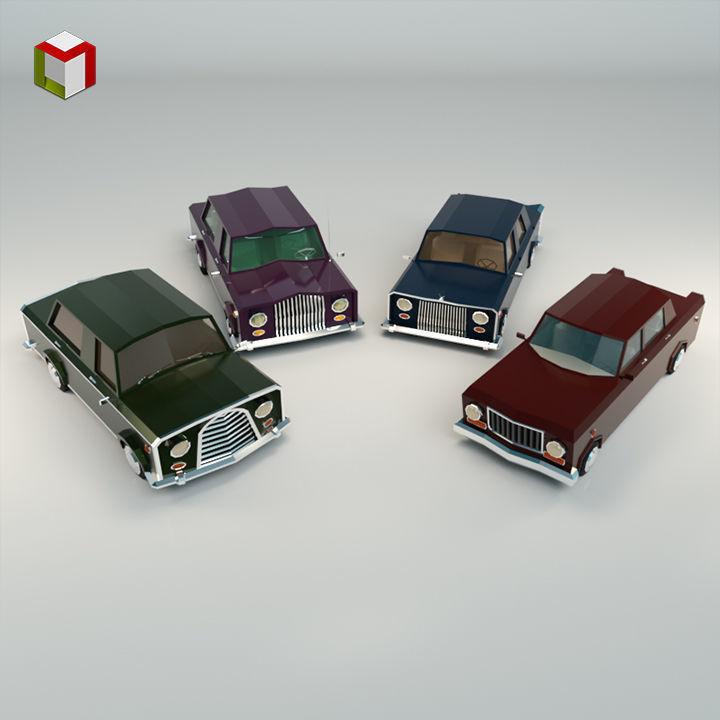 Low Poly Sedan Car Pack 02