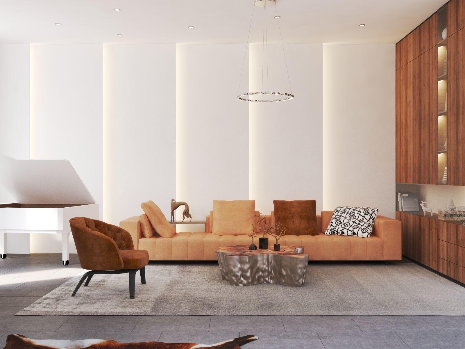Modern Living Room And Kitchen 3d Model