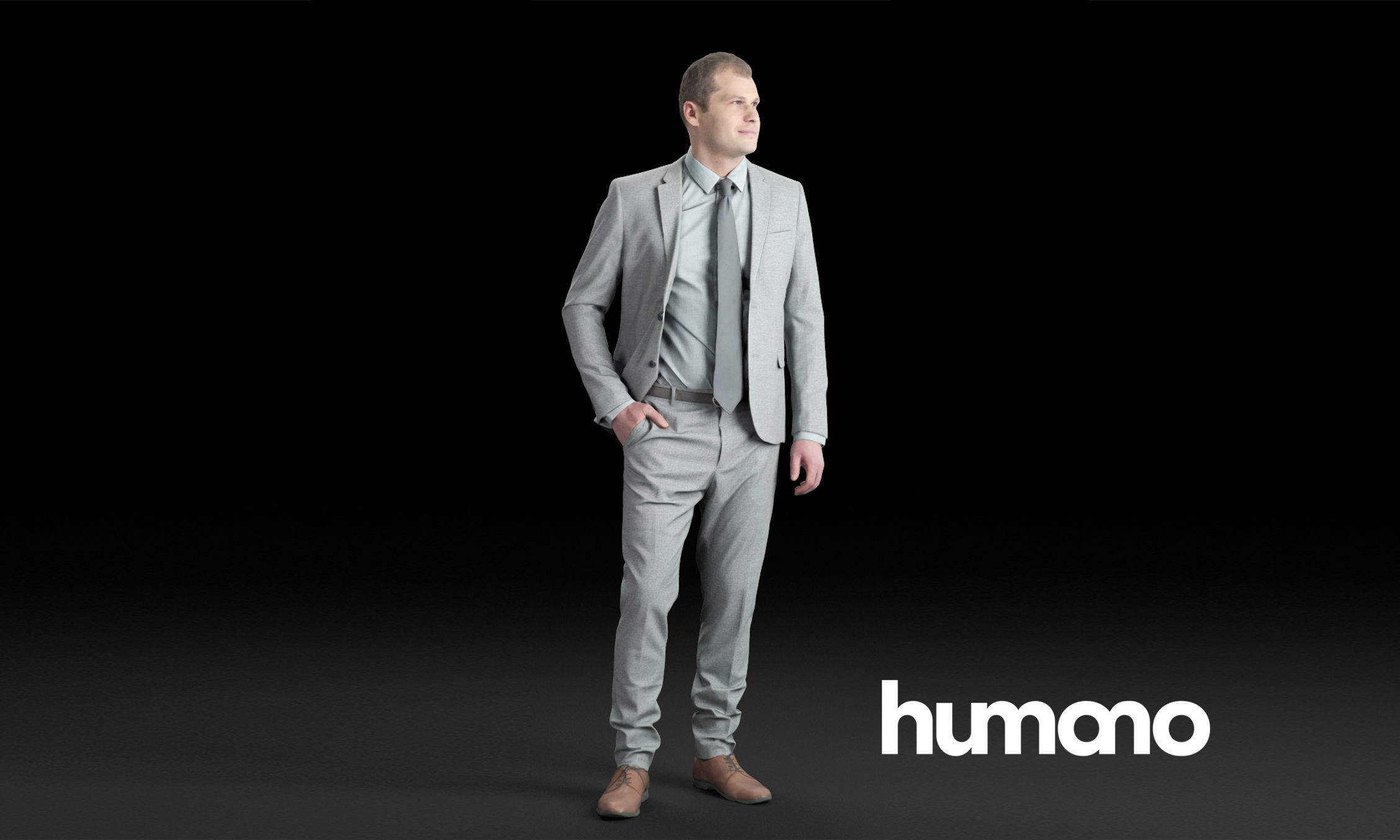 Humano Elegant business man standing and looking 0105