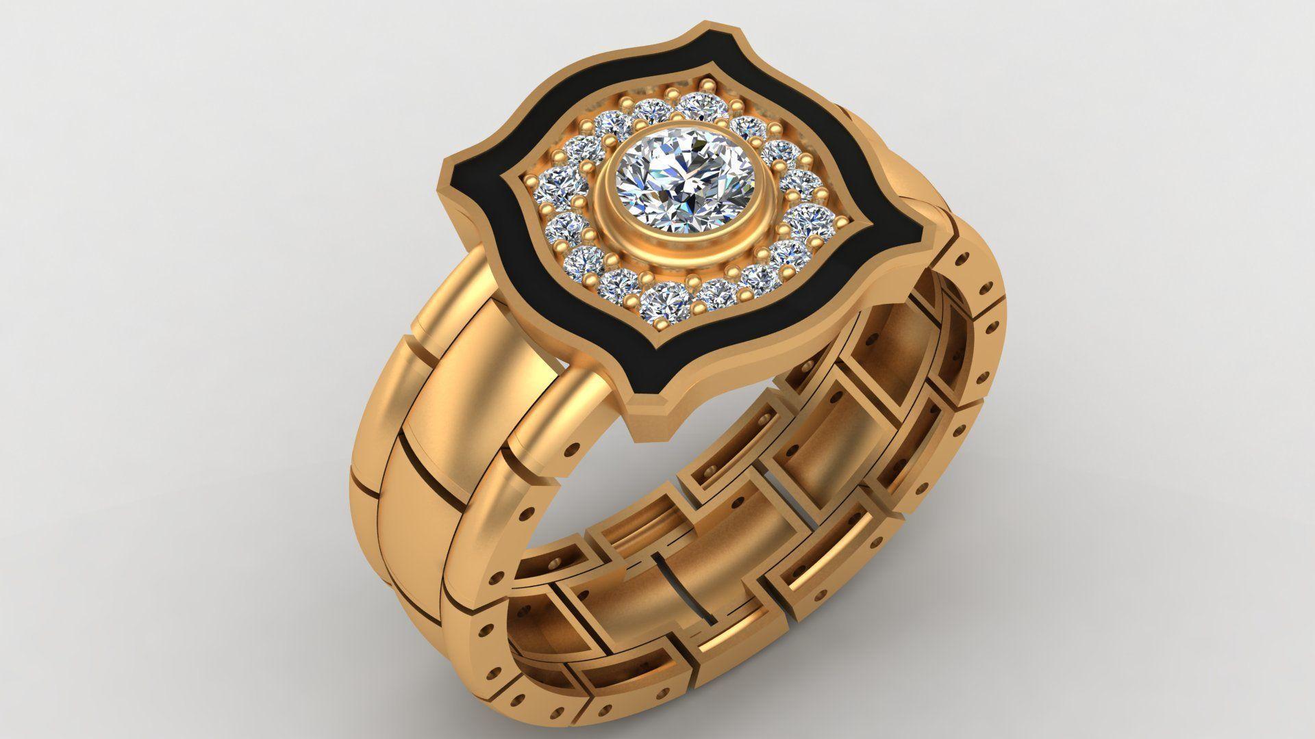 Rolex Enamel Diamond Gold Ring