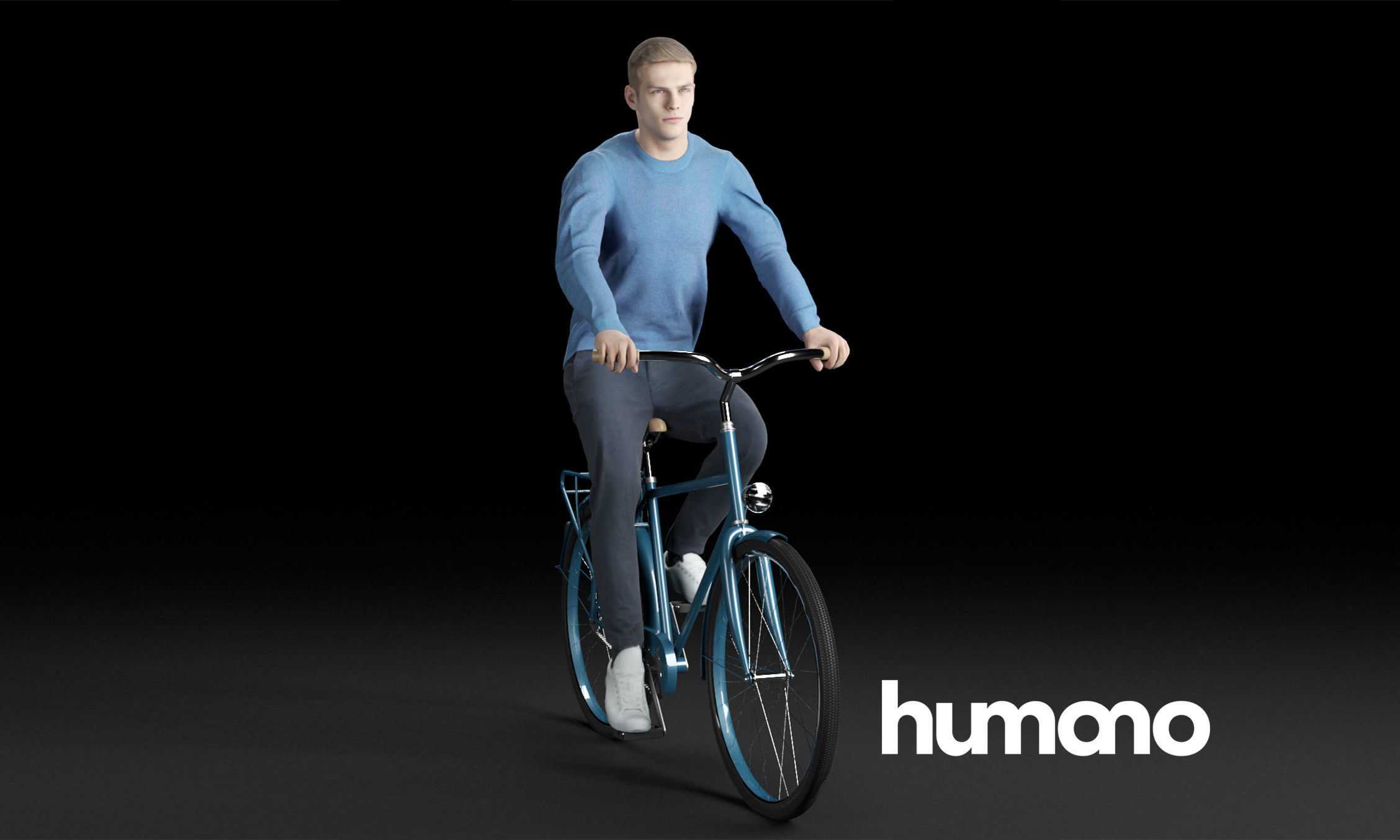 Humano Casual man in blue sweater cycling 0205