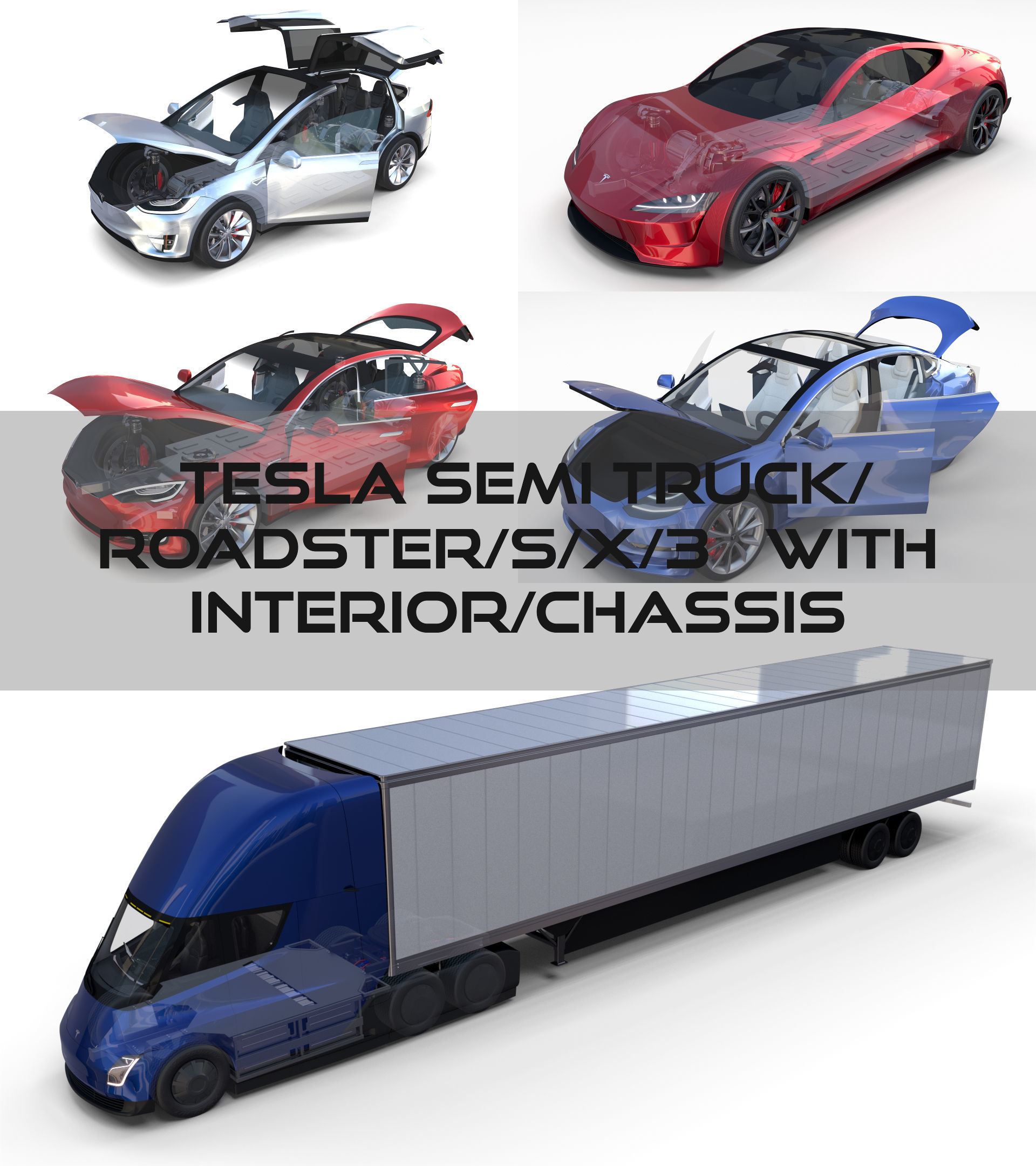 3d 2012 Tesla Roadster Sport: 3D Tesla Pack Semi Roadster Model S X 3 With Interiors And