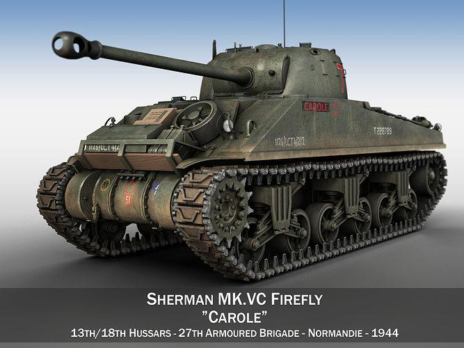 sherman mk vc firefly - carole 3d model obj mtl 3ds fbx c4d lwo lw lws 1
