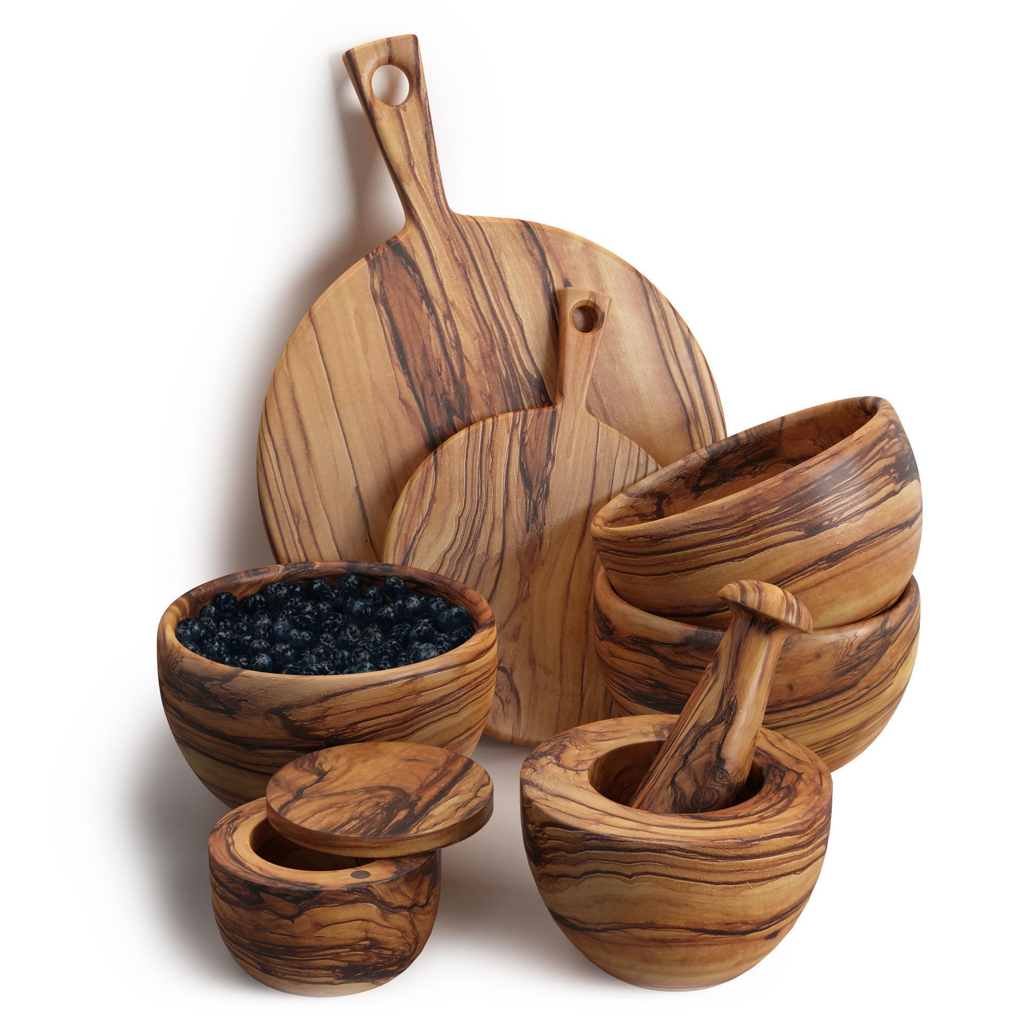 Olive wood kitchen set