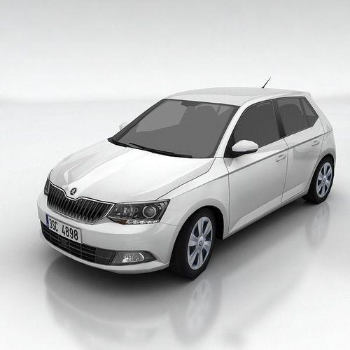 skoda fabia 3 hatchback 3d model low-poly max obj fbx mtl 1