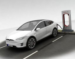 3D asset Tesla X plus Supercharger