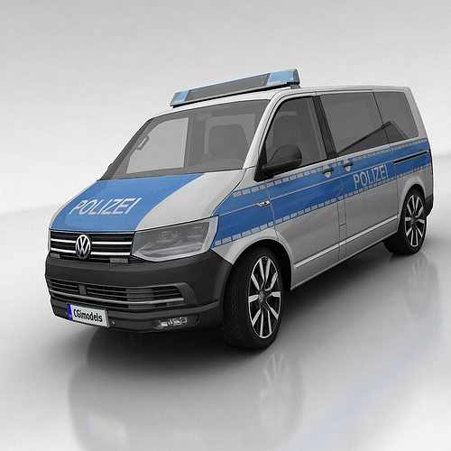 vw t6 polizei 3d model low-poly max obj mtl fbx tga 1