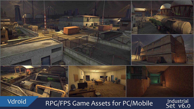 RPG FPS Game Assets for PC Mobile Industrial Set v6