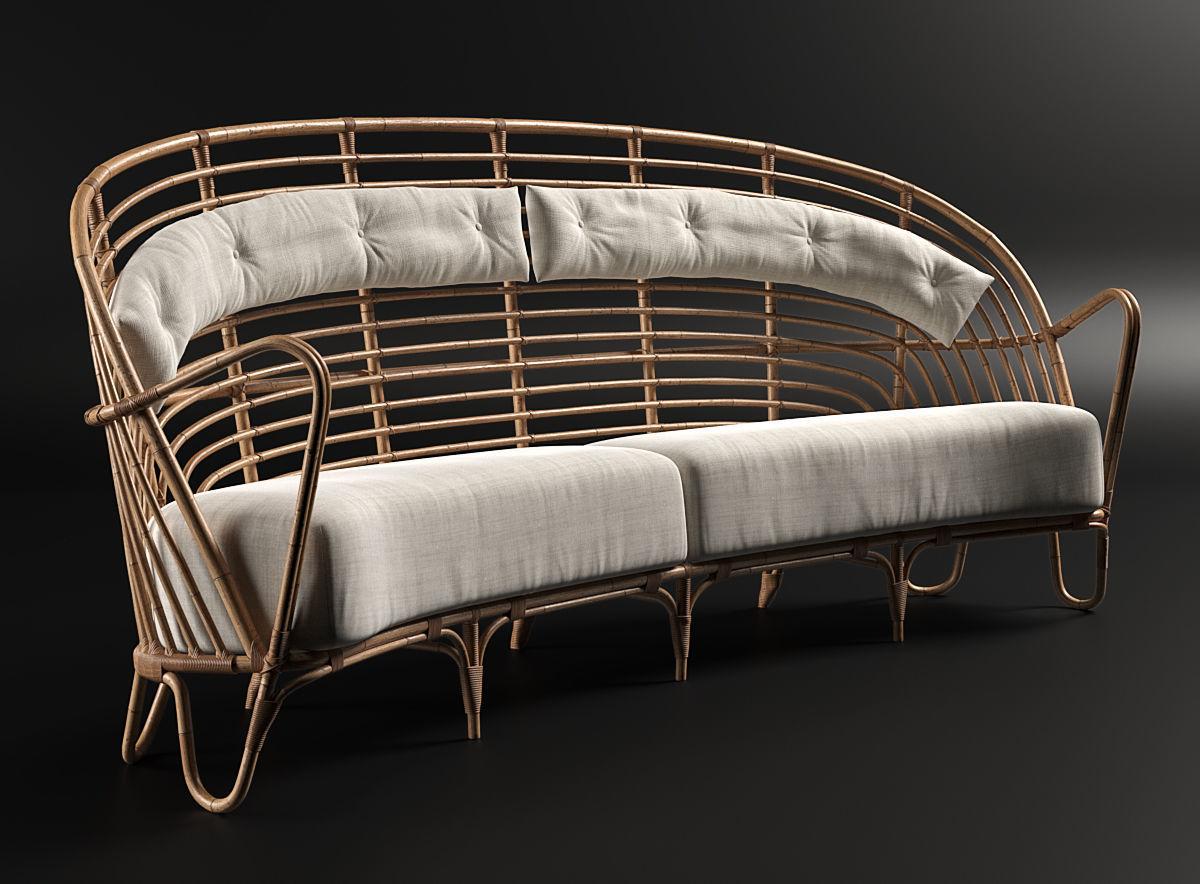Danish Curved Rattan Sofa 3D model MAX OBJ FBX