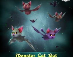 3d model animated low-poly monster cat bat