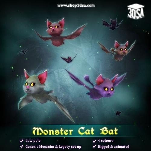 monster cat bat 3d model low-poly rigged animated fbx tga unitypackage prefab pdf 1