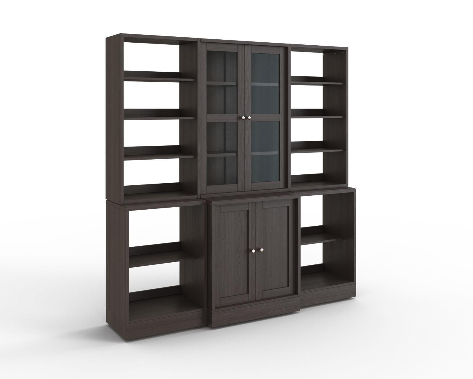 HAVSTA Storage combination w glass doors dark brown