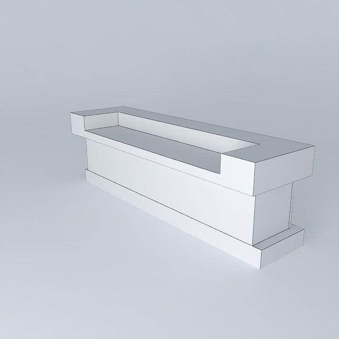 Mobile Kitchen Island 3d Model: Lightbox Bar Counter 1 Free 3D Model MAX OBJ 3DS FBX STL
