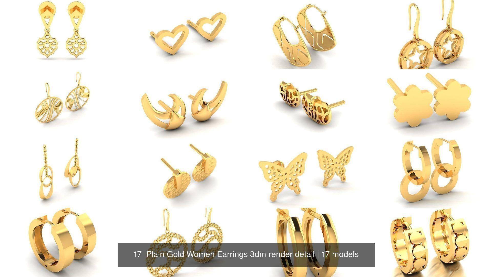 17  Plain Gold Women Earrings 3dm render detail