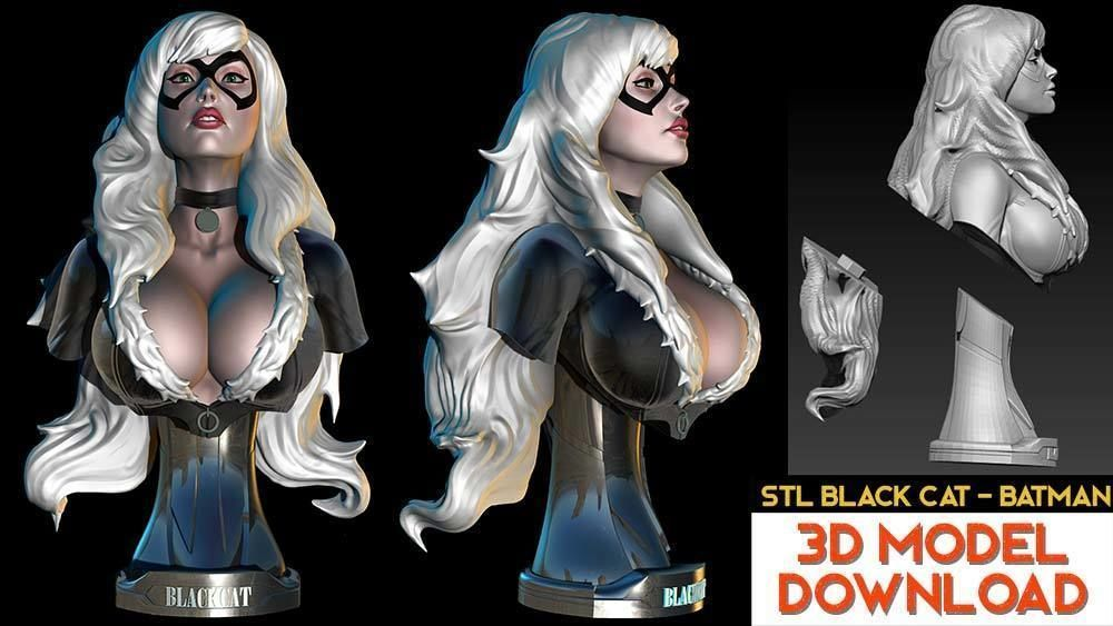 Black Cat from Batman Bust STL-OBJ 3D model  Fanart version