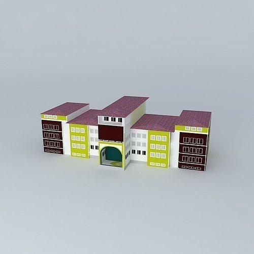 abdullah tayyar high school 3d model max obj 3ds fbx stl skp 1