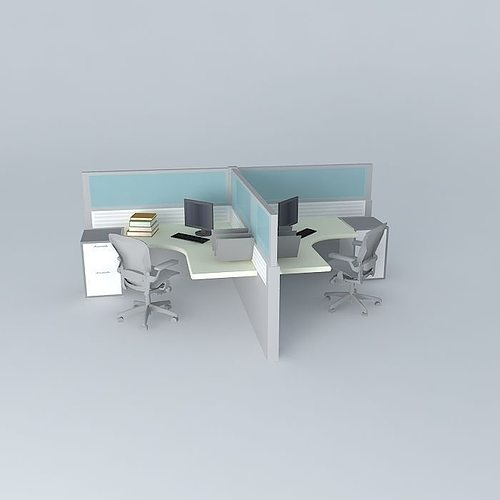 Duo Office Cubicle Free 3D Model MAX OBJ 3DS FBX STL SKP