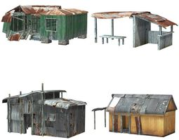 rigged 3d asset VR / AR ready shanty town buildings and accessories