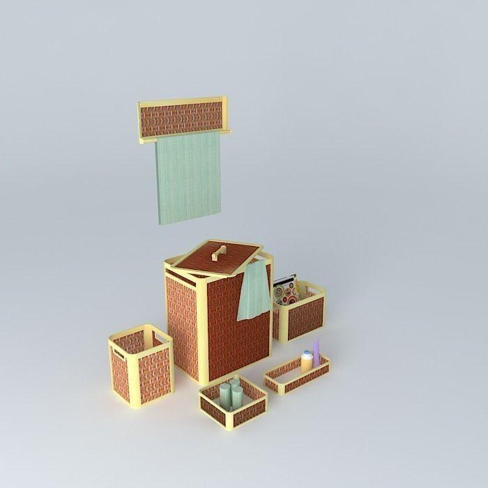 Bamboo Bathroom Accessories 1 3d Model Max Obj 3ds Fbx Stl Skp 1 ...