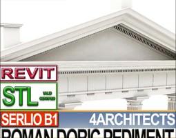 roman doric pediment serlio block b1 3d model obj 3ds c4d dxf stl vue