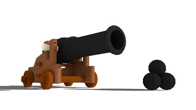 low-poly cannon