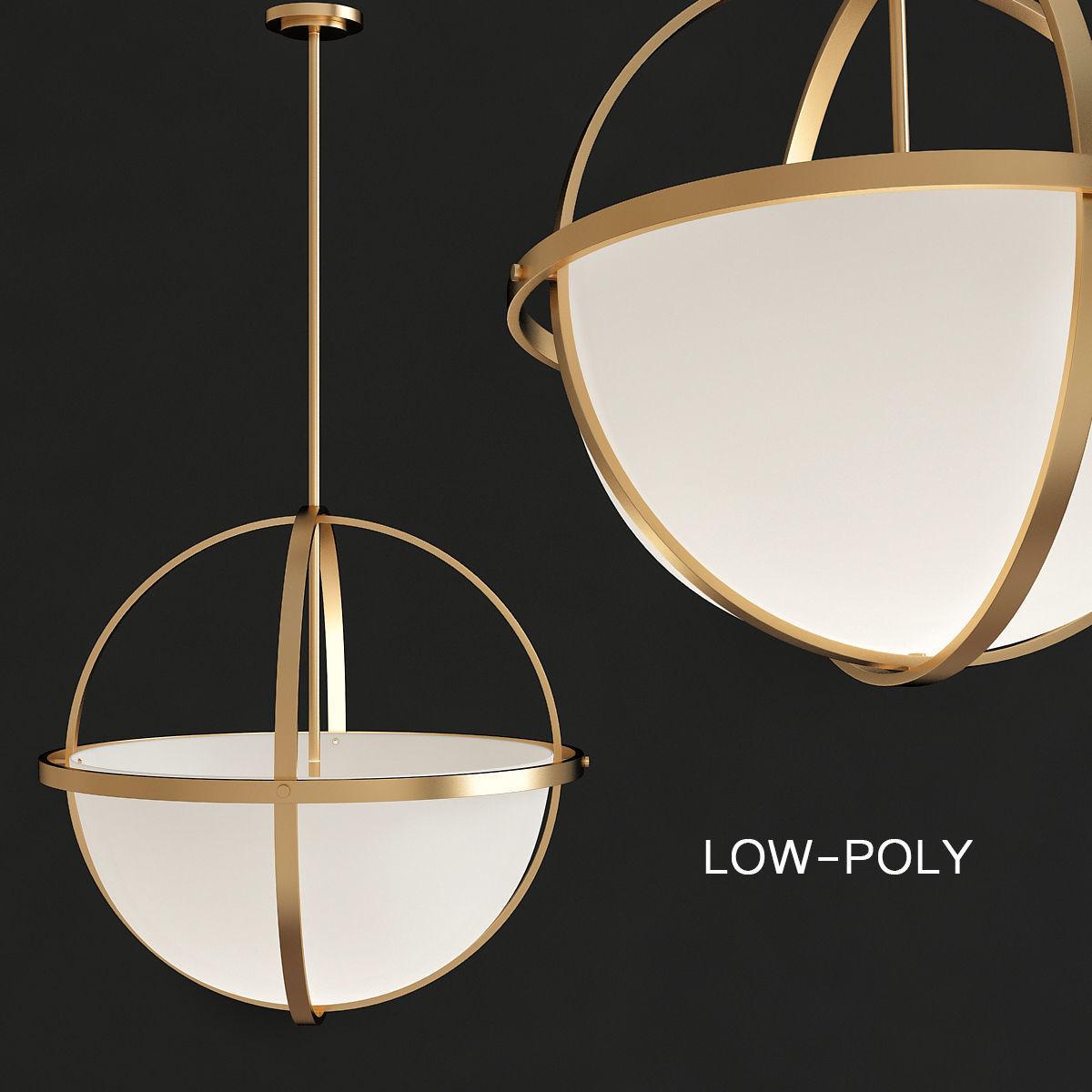 Globe Pendant Lights Low Poly Model