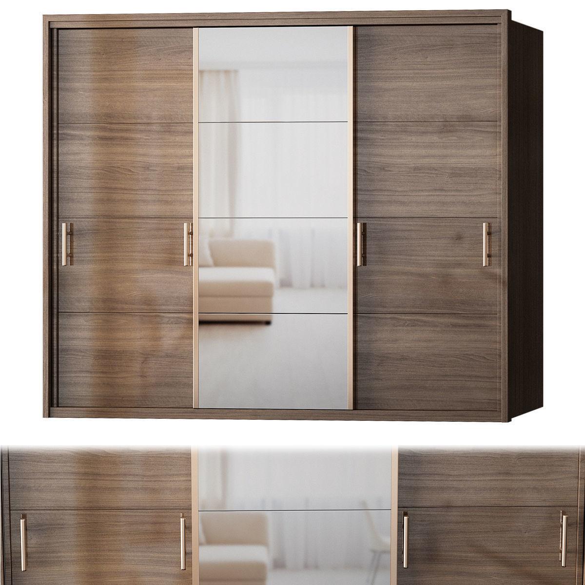 Manhattan Comfort Bellevue Wardrobe - 3 Doors low poly 3d model