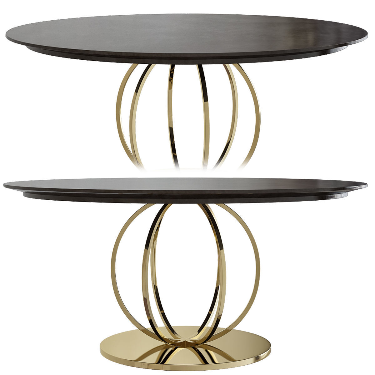 Furniture Coffee Table Side Metal Gold Table Set 3d Model
