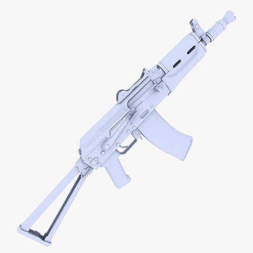 aks-74u submachine gun 3d model low-poly max obj mtl 3ds fbx dxf 1