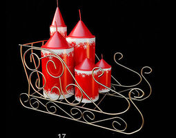 christmas red candles  3d model
