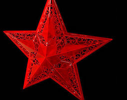 3D Red Christmas star