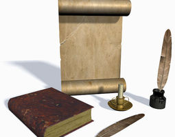 old scroll feather and candle VR / AR ready 3d model