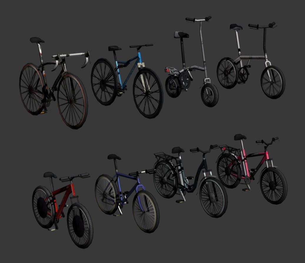Low Poly bicycle set