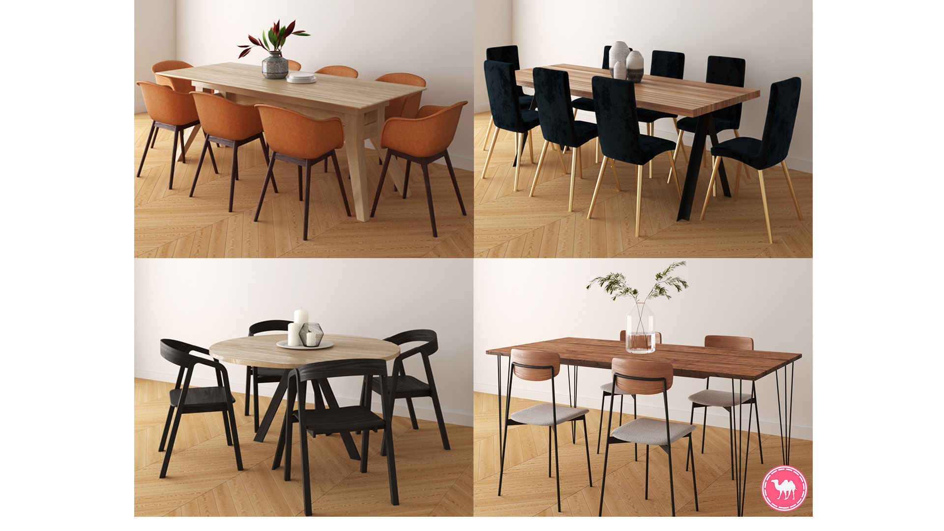 Dining Tables Pack A-D - HQ Low Poly