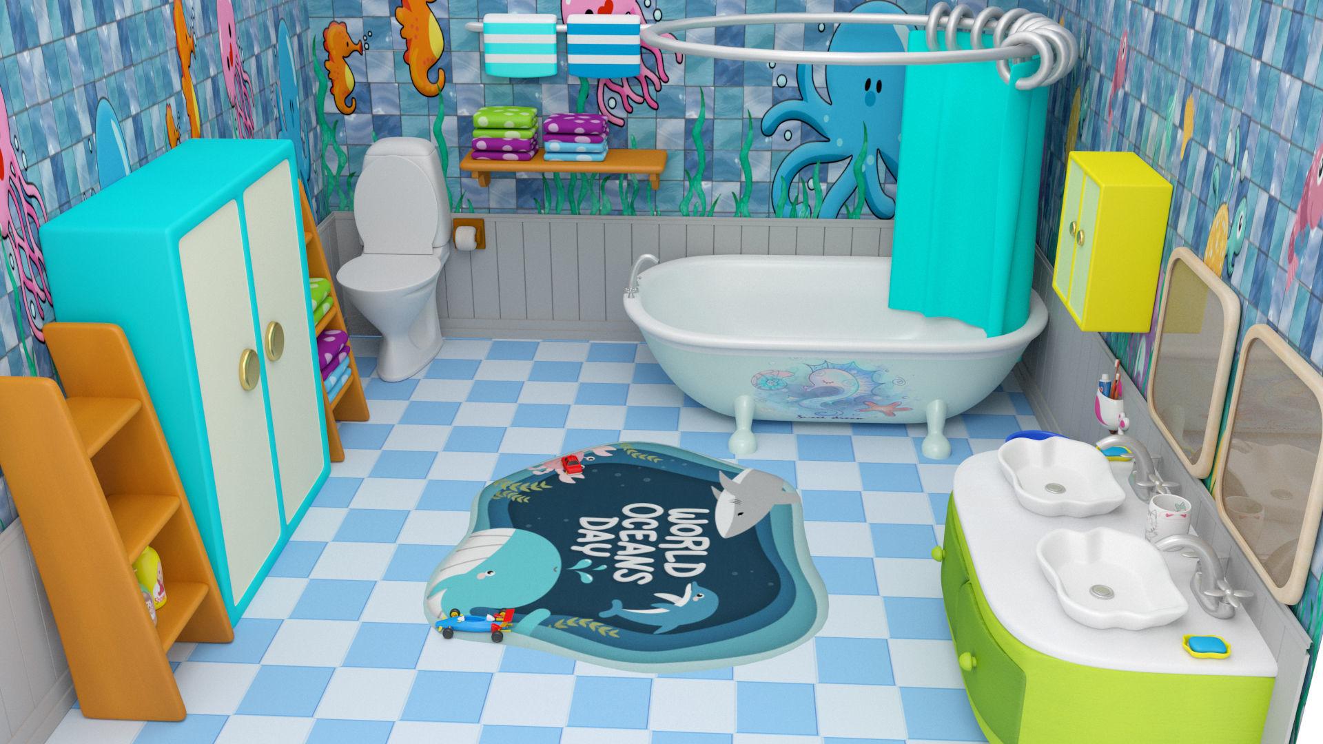 3d Asset Bathroom Cartoon Low Poly Cgtrader